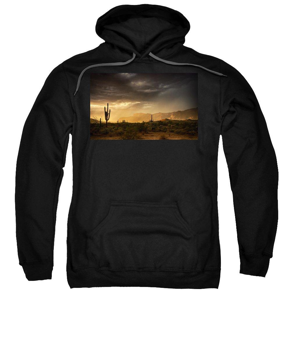 Arizona Sweatshirt featuring the photograph A Desert Monsoon Sunset by Saija Lehtonen