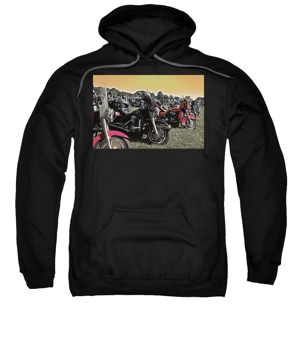 Hogmotorcycle Sweatshirt featuring the photograph A Few Hogs In The Sun by Tom Gari Gallery-Three-Photography