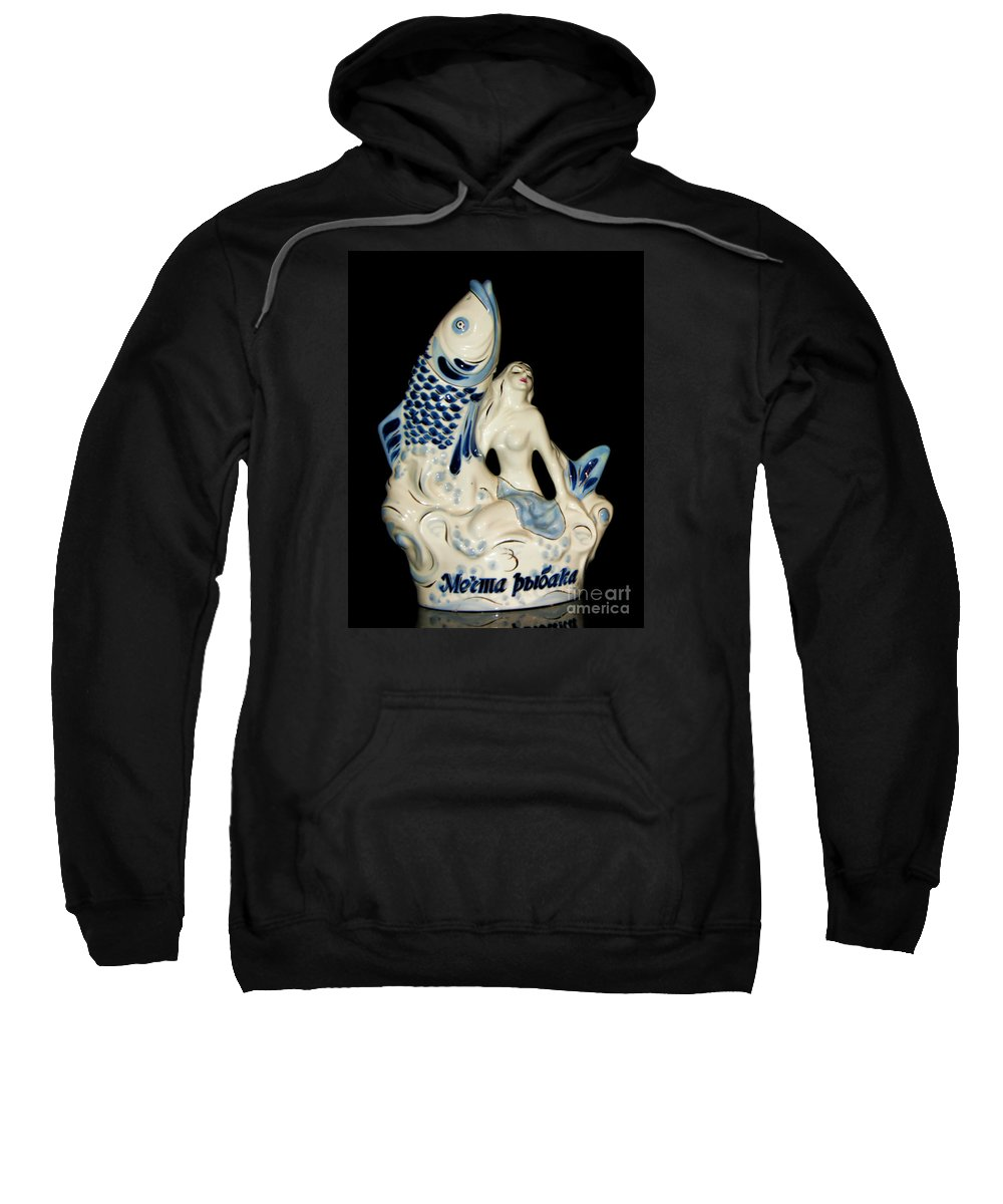 Mermaid Sweatshirt featuring the photograph A Fisherman's Dream Russian Vodka Ceramic Bottle by Olga Hamilton