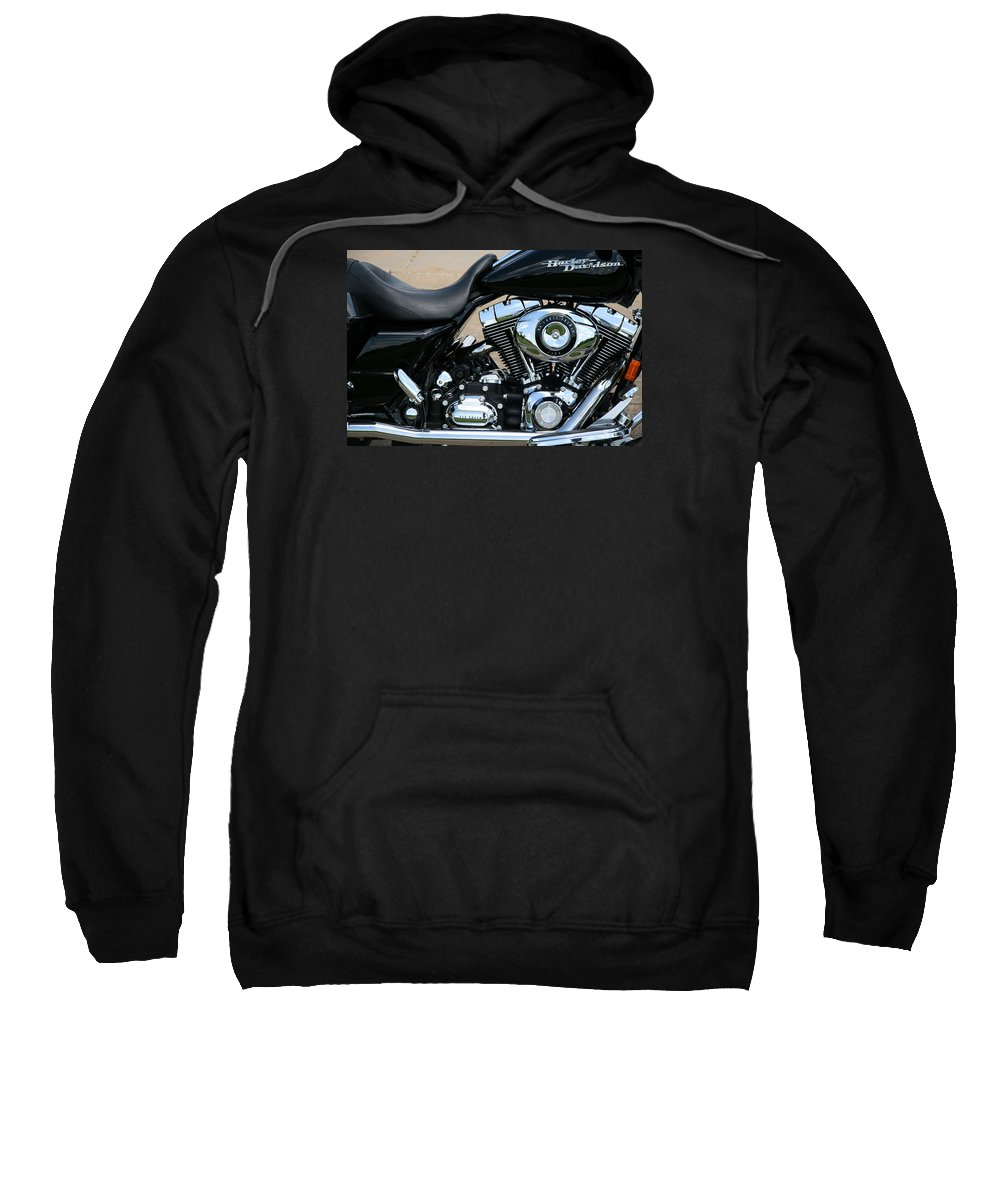 Harley Sweatshirt featuring the photograph A Harley In Arlington by Cora Wandel