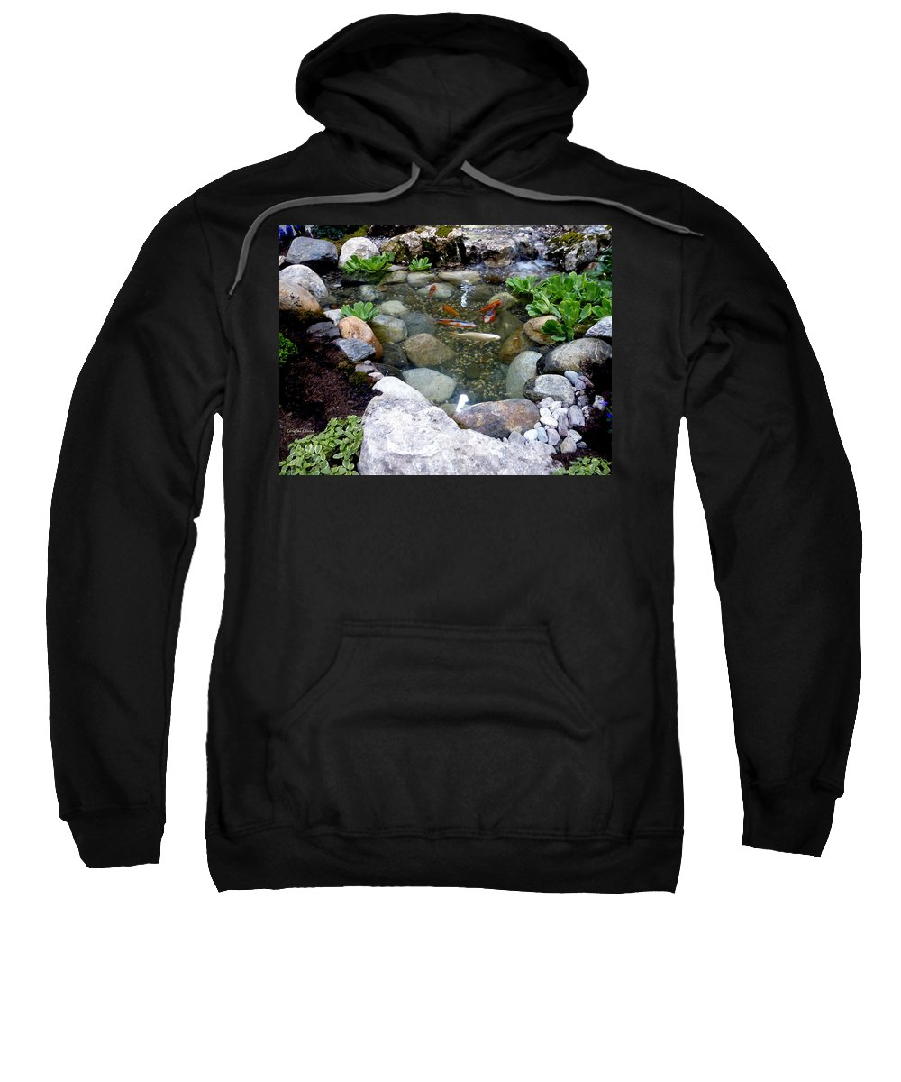 Garden Landscape Sweatshirt featuring the photograph A Koi Pond For Outdoor Garden by Lingfai Leung