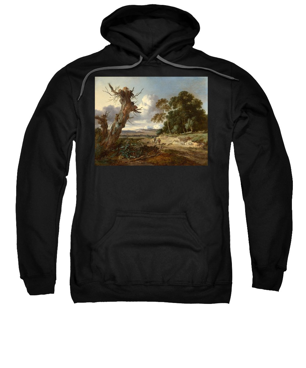 Jan Wijnants Sweatshirt featuring the painting A Landscape With Two Dead Trees by Jan Wijnants
