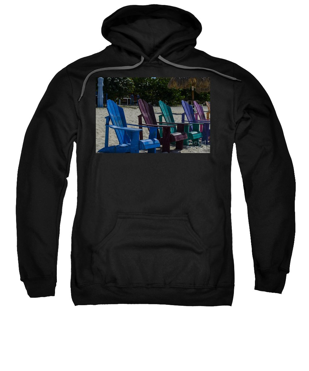 Beach Chairs Sweatshirt featuring the photograph A Line Up Of A Different Color by Judy Wolinsky