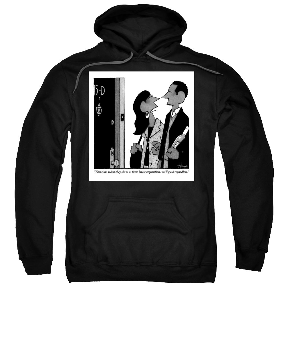 Parties - General Sweatshirt featuring the drawing A Man And Woman Speak In A Hallway Outside An by William Haefeli