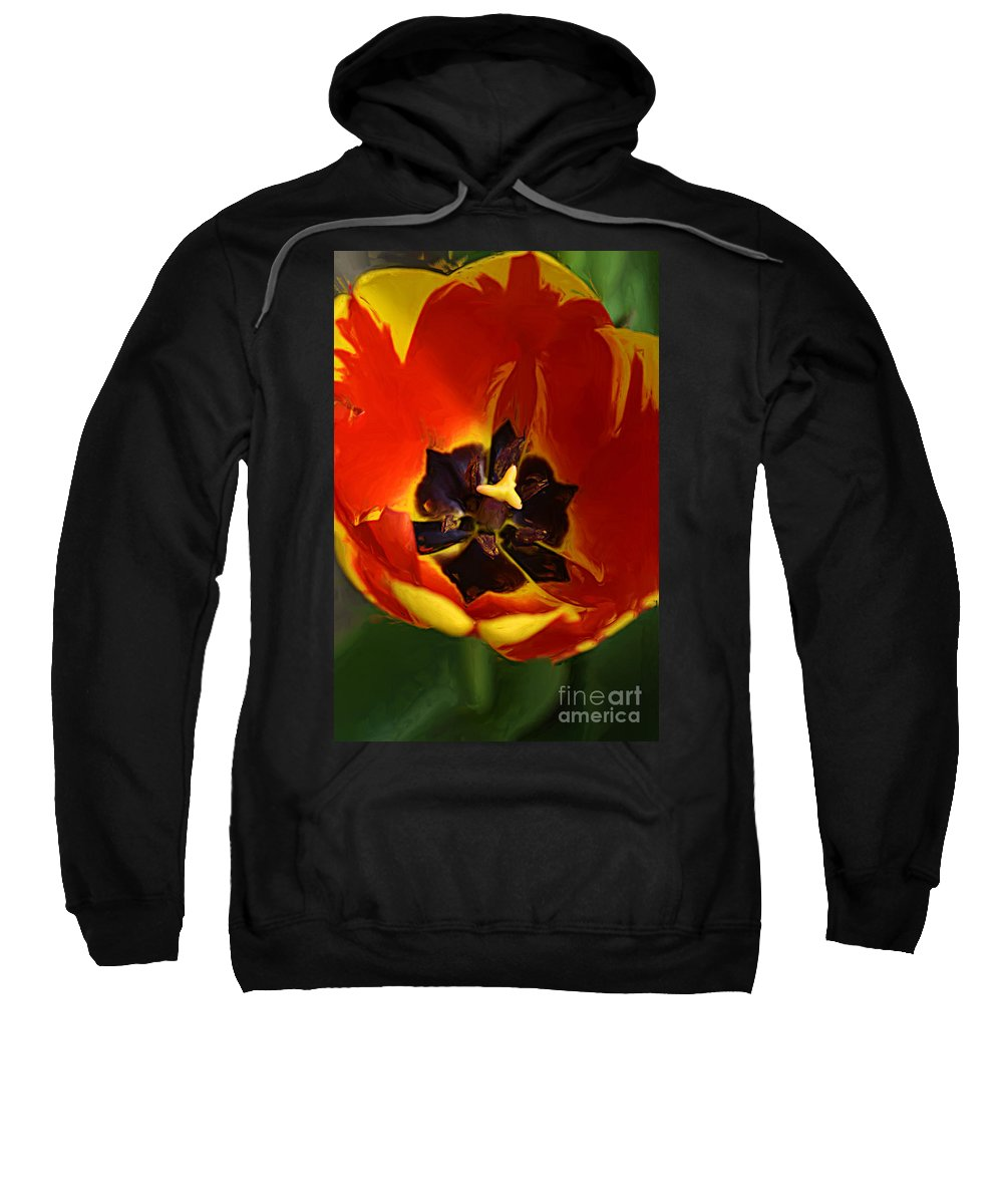 Painting Sweatshirt featuring the photograph A Painting Red Tulip by Mike Nellums