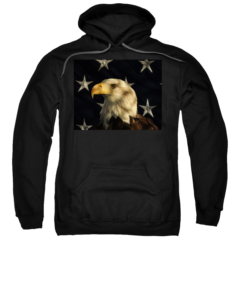 Eagle Sweatshirt featuring the photograph A Patriot by Raymond Salani III