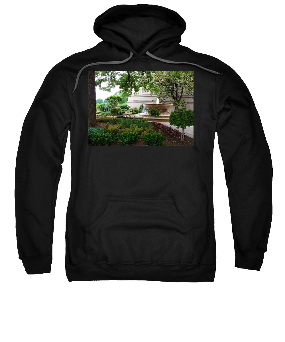 Fountain Sweatshirt featuring the photograph A Peaceful Place by Lois Ivancin Tavaf