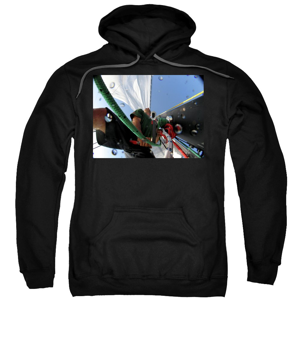 Australia Sweatshirt featuring the photograph A Spanish Racing Yacht Trains by Christophe Launay