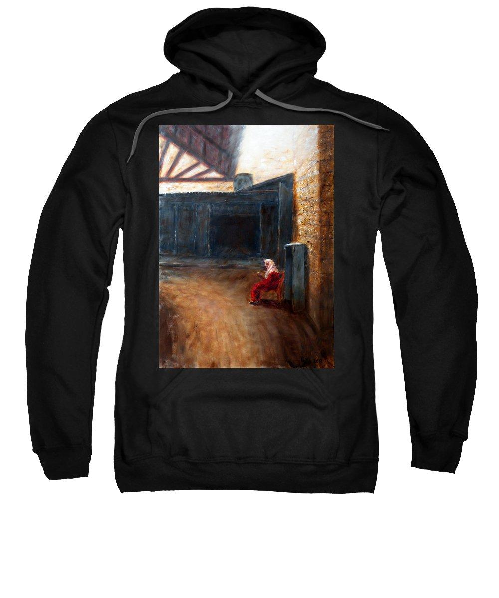 A Street Corner Sweatshirt featuring the painting A Street Corner by Uma Krishnamoorthy