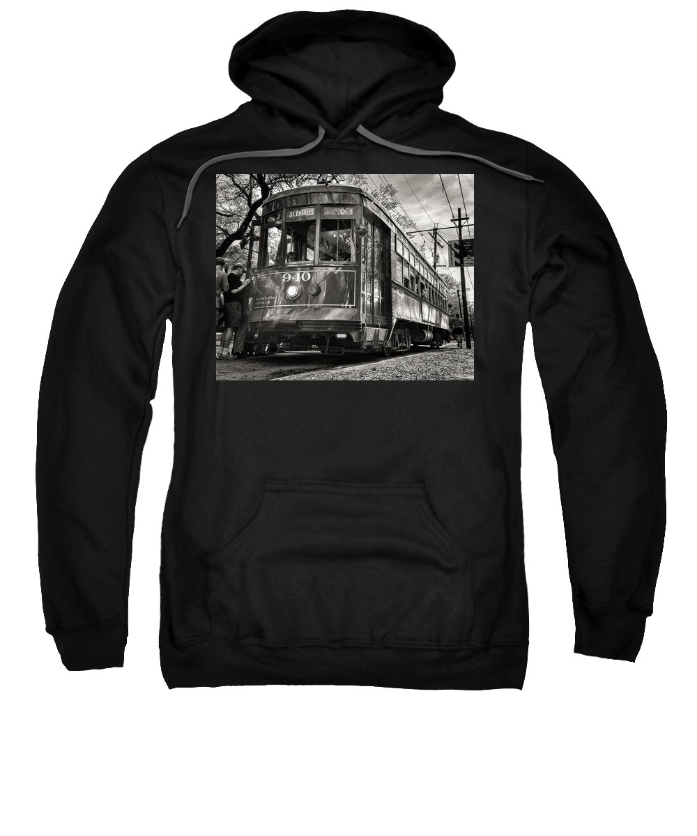 Rail Sweatshirt featuring the photograph A Streetcar Named St Charles by William Beuther