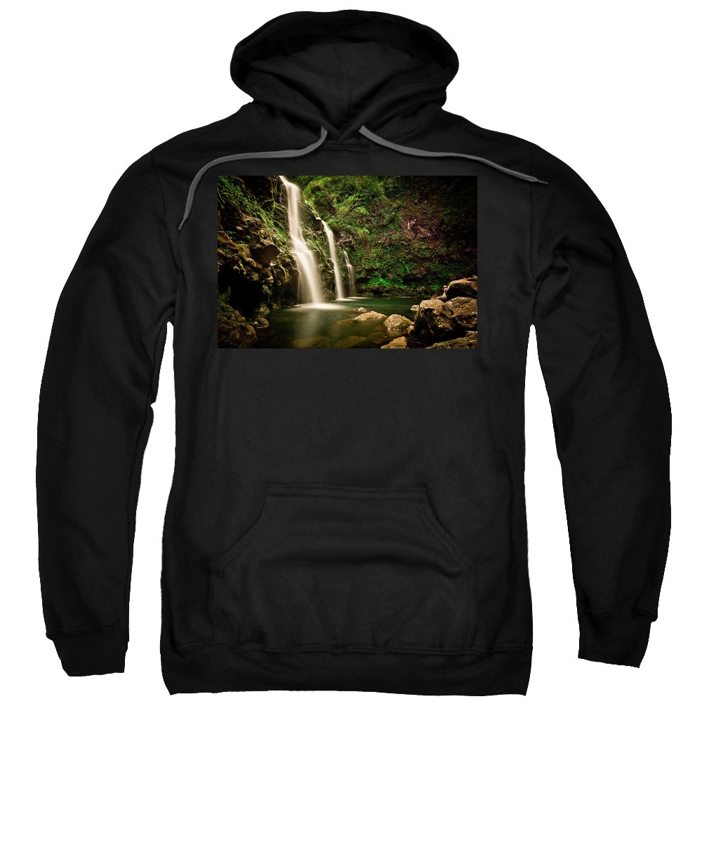 Beauty In Nature Sweatshirt featuring the photograph A Waterfall In Hana, Maui by Rob Hammer