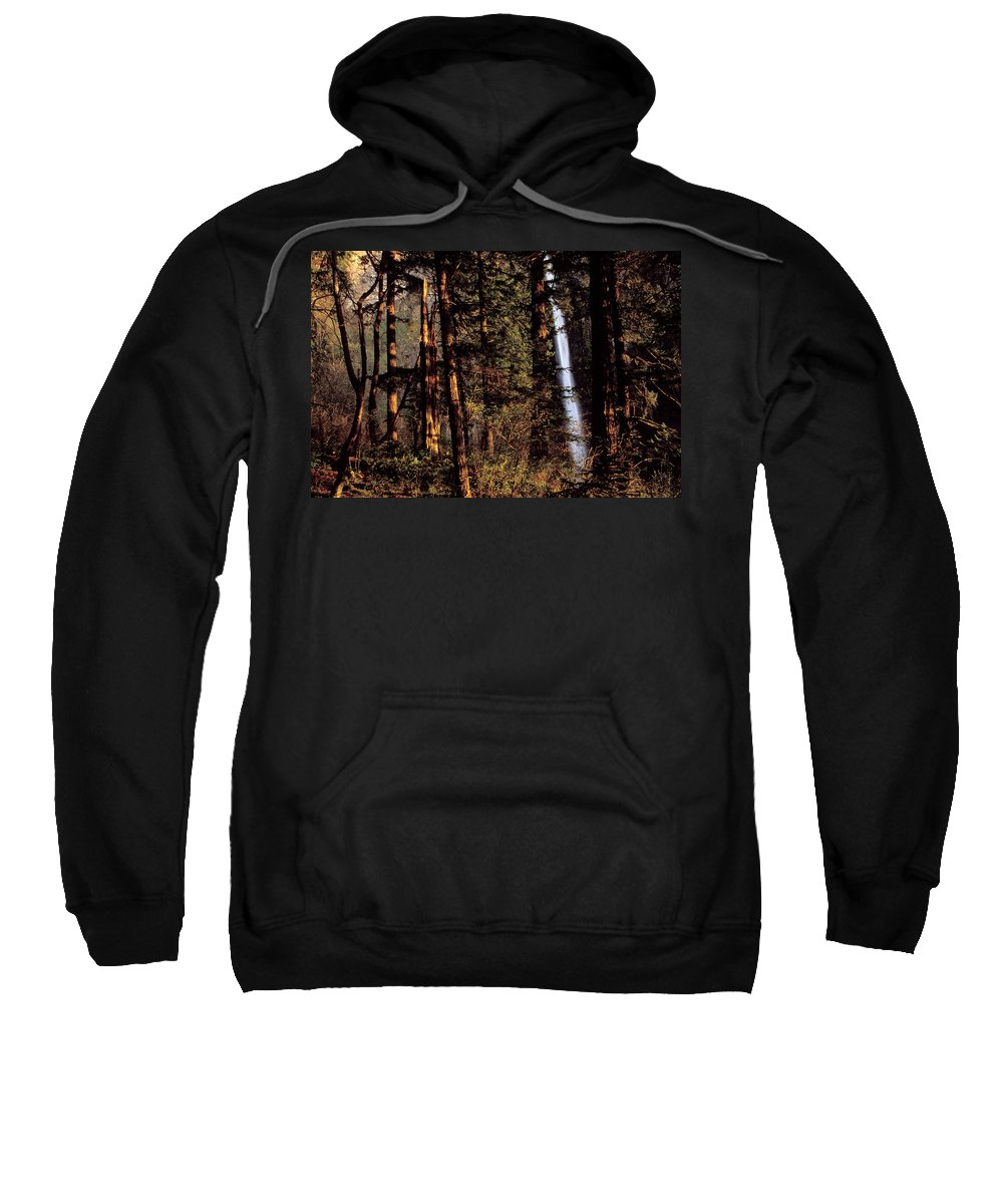 Beauty Sweatshirt featuring the photograph A Waterfall Tumbles Through The Forest by David Stubbs
