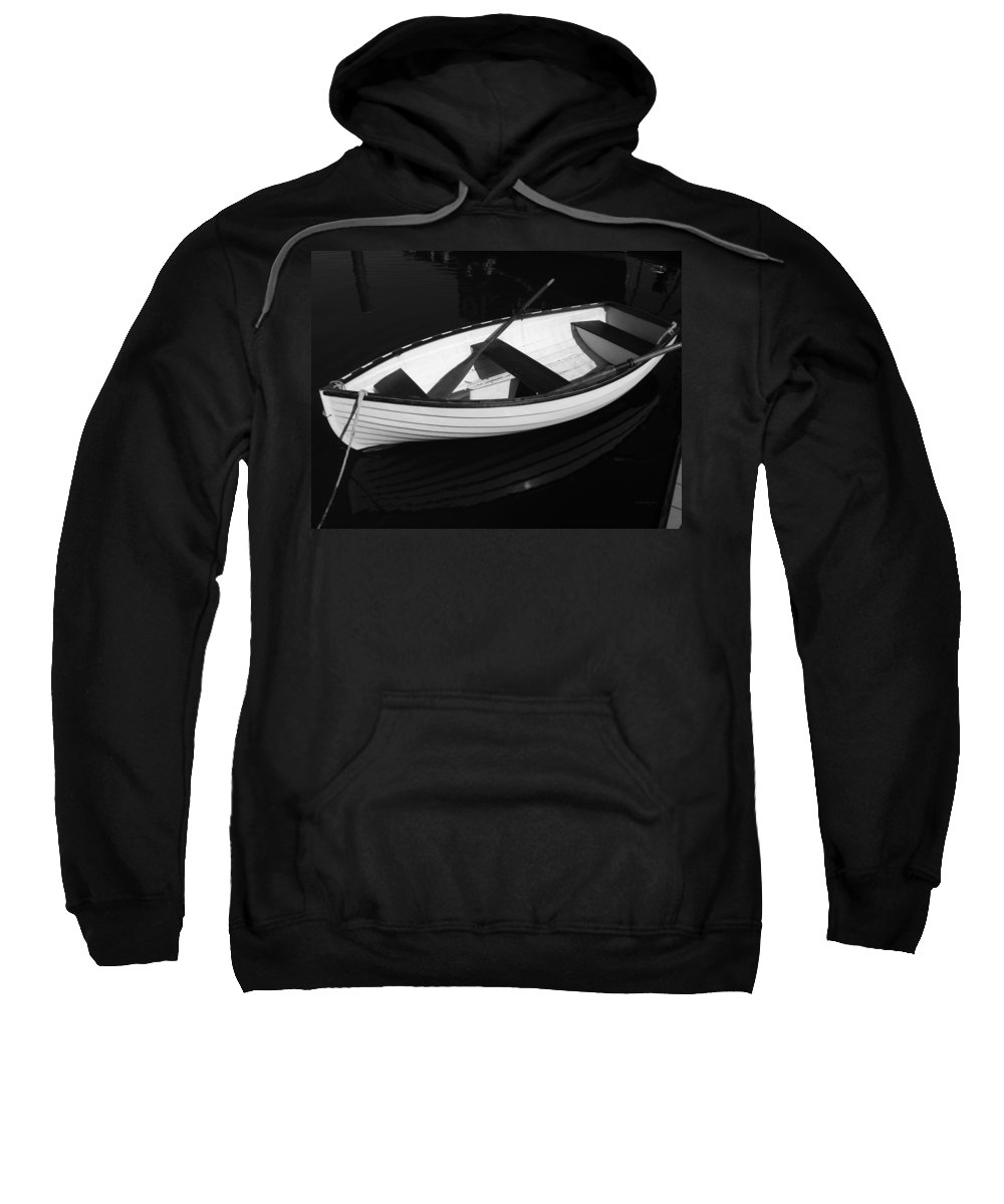 Boats Sweatshirt featuring the photograph A White Rowboat by Xueling Zou