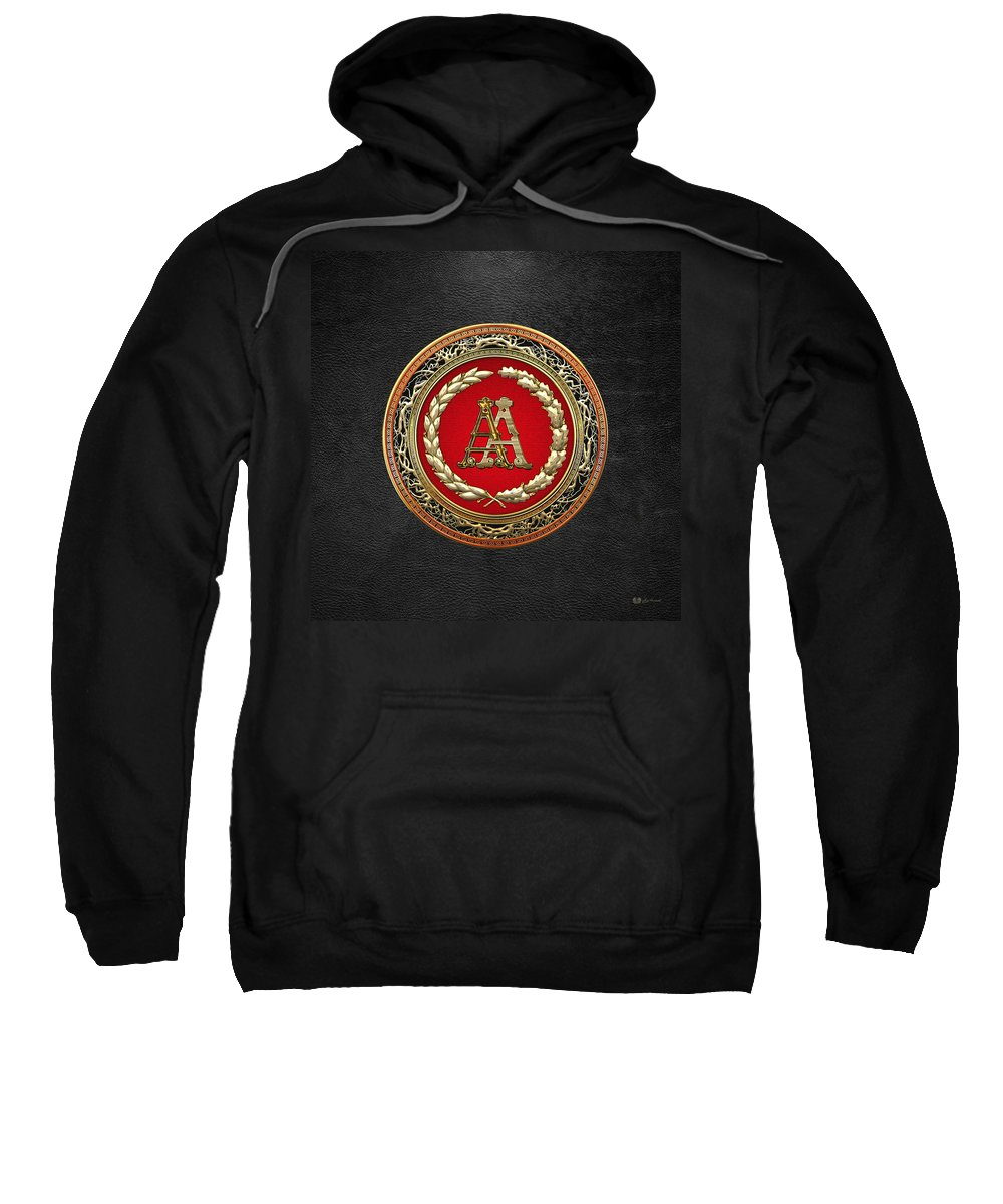 C7 Vintage Monograms 3d Sweatshirt featuring the digital art Aa Initials - Gold Antique Monogram On Black Leather by Serge Averbukh