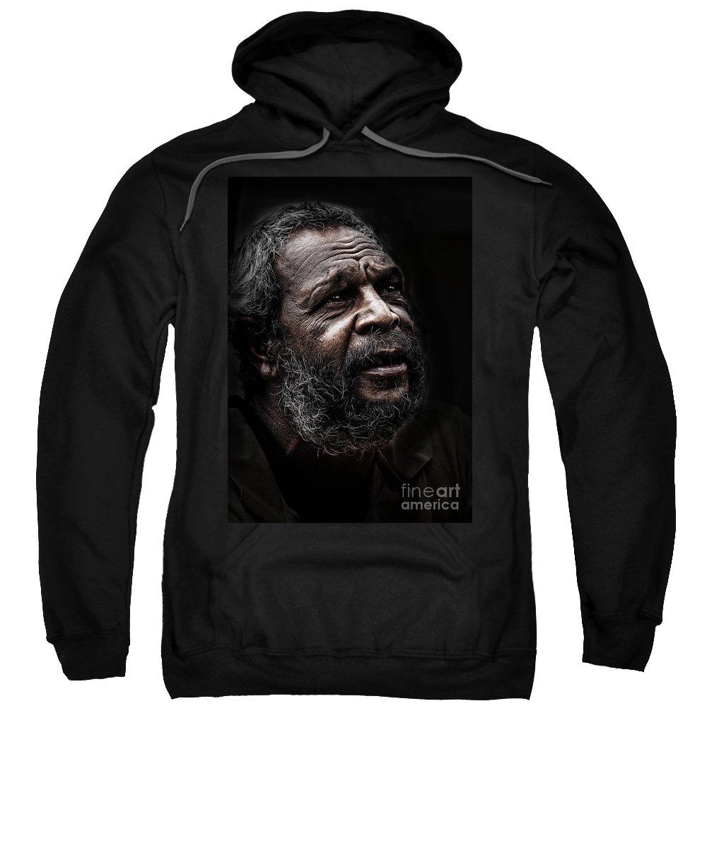 Australian Aboriginal Man Sweatshirt featuring the photograph Aboriginal man by Sheila Smart Fine Art Photography