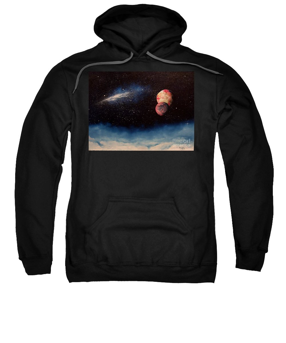 Landscape Sweatshirt featuring the painting Above Alien Clouds by Murphy Elliott
