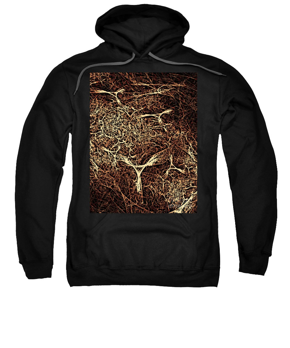 Abstract Sweatshirt featuring the digital art Abstract Angels Woodcut by Russell Kightley