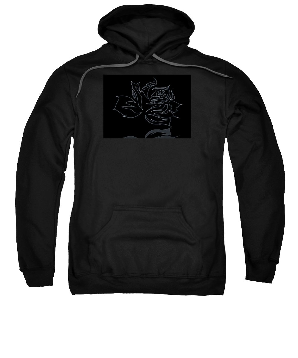 Flower Sweatshirt featuring the digital art Abstract Black Rose by FL collection