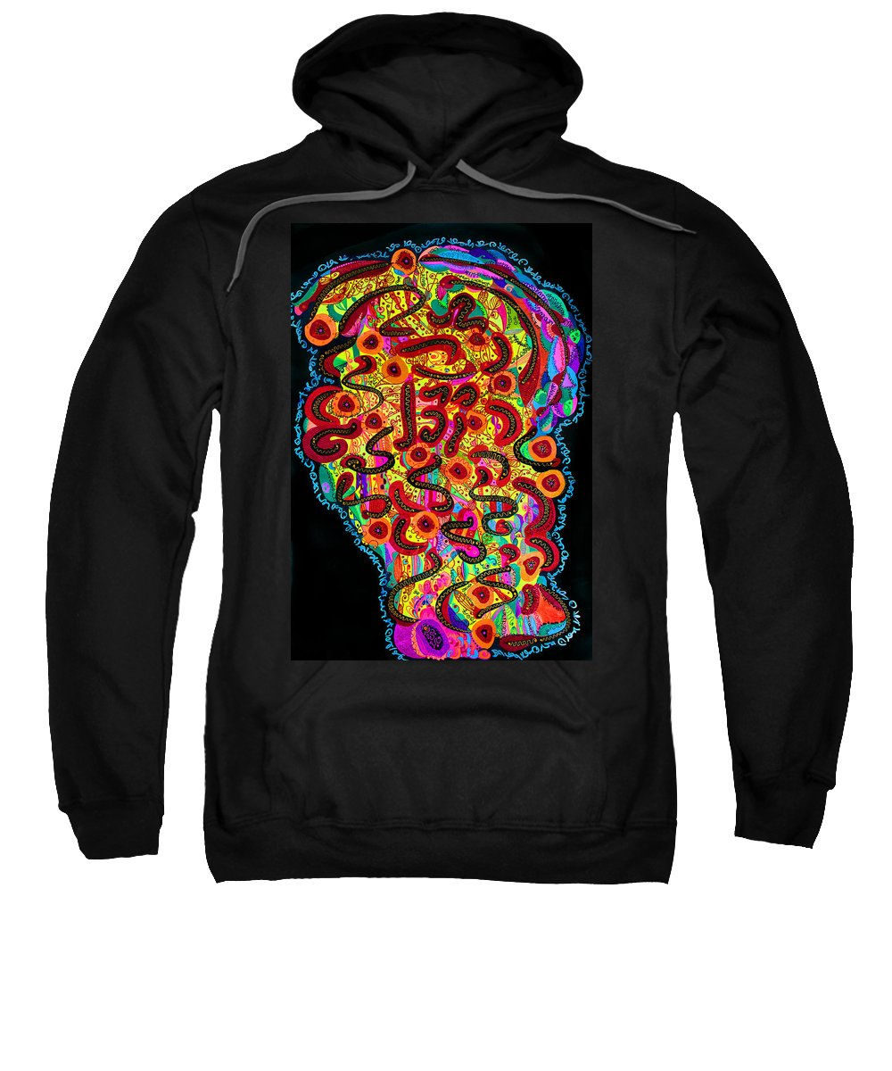 Abstract Sweatshirt featuring the drawing Abstract Brain by Alex Art and Photo