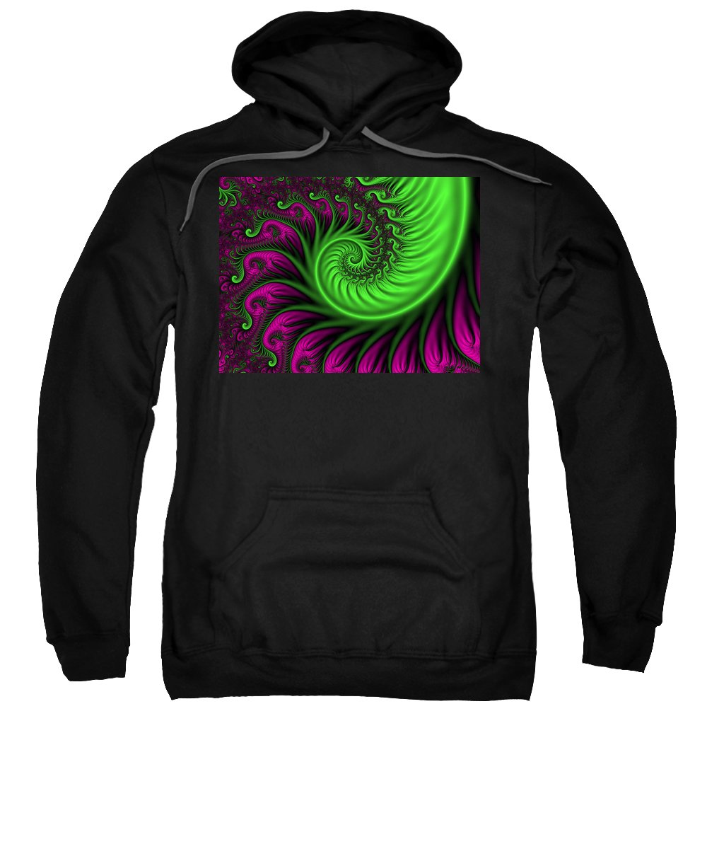 Digital Art Sweatshirt featuring the digital art Abstract Neon Colors Fractal by Gabiw Art