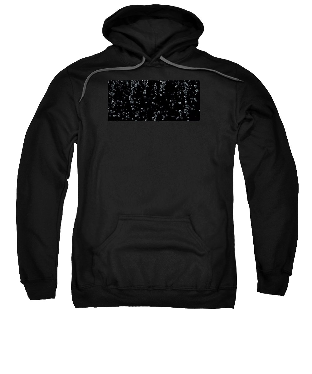 Abstract Raindrops Black And White Sweatshirt featuring the photograph Abstract Raindrops Black And White by Dan Sproul