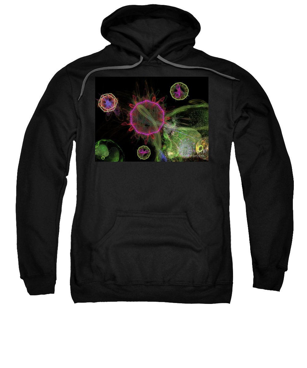 Abstract Sweatshirt featuring the digital art Abstract Virus Budding 1 by Russell Kightley