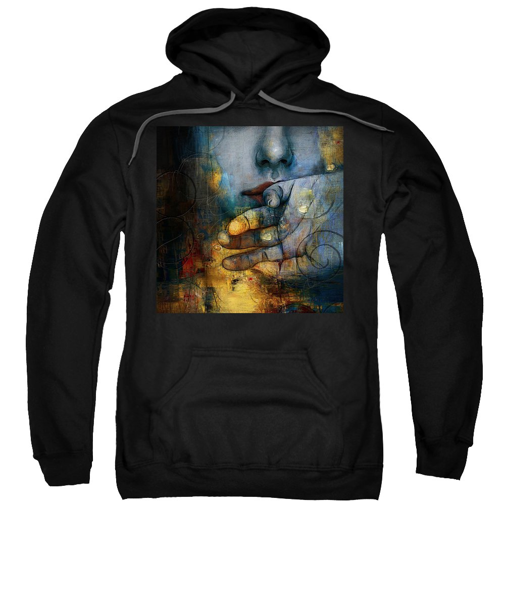 Women Sweatshirt featuring the painting Abstract Woman 011 by Corporate Art Task Force
