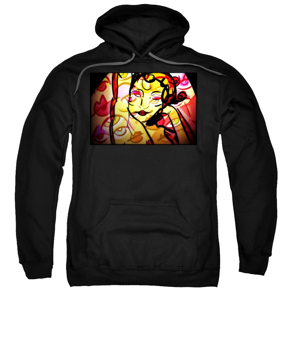 Abstract Sweatshirt featuring the digital art Abstract Woman by Snowflake Obsidian