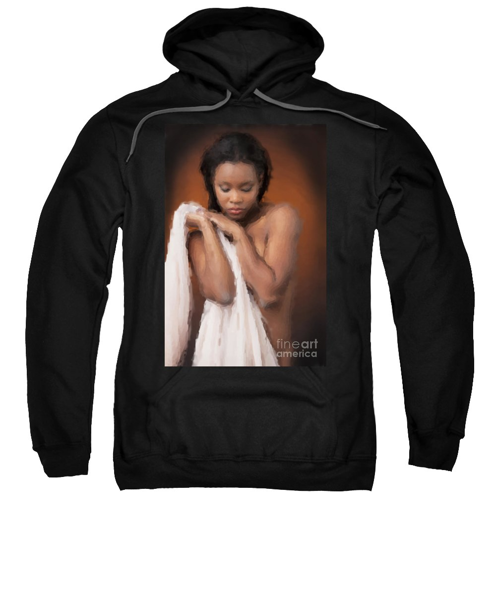 African Nude Sweatshirt featuring the photograph African Nude Looks Shy 1037.02 by Kendree Miller
