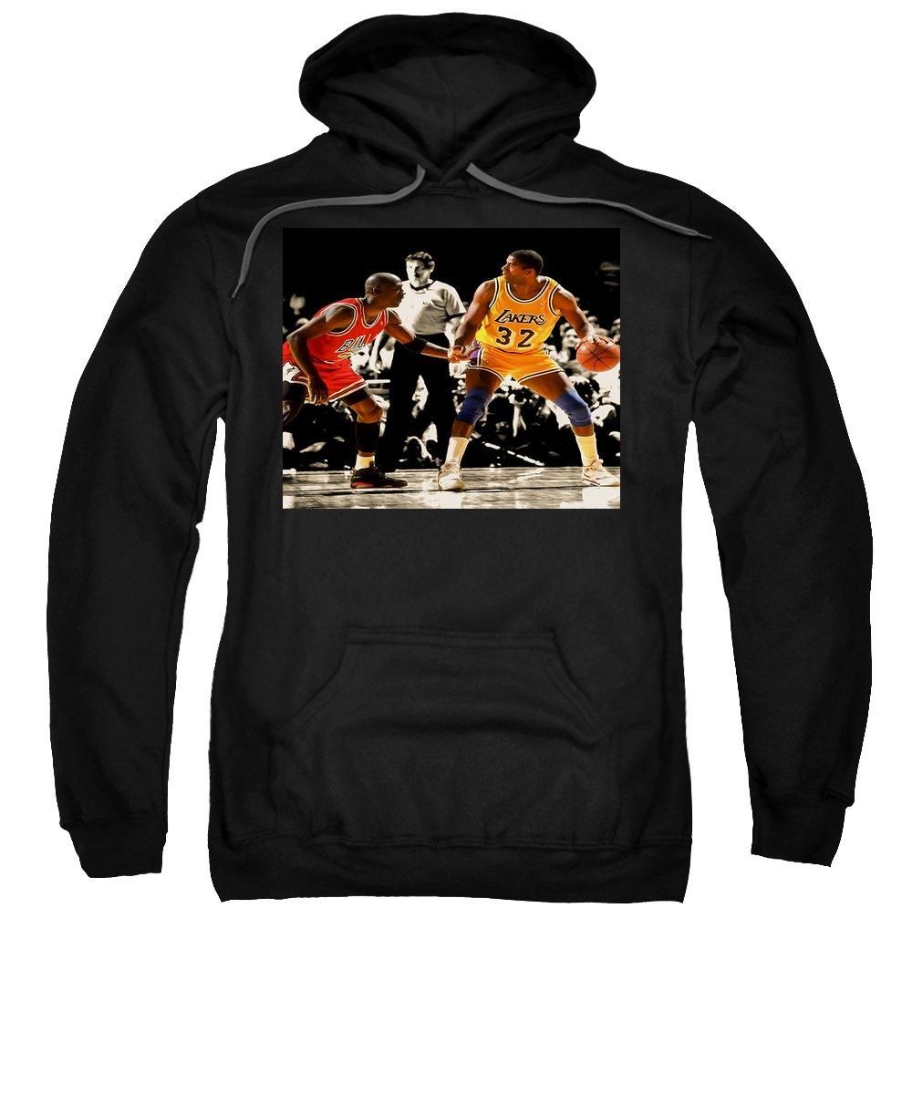 Michael Jordan Sweatshirt featuring the digital art Air Jordan On Magic by Brian Reaves