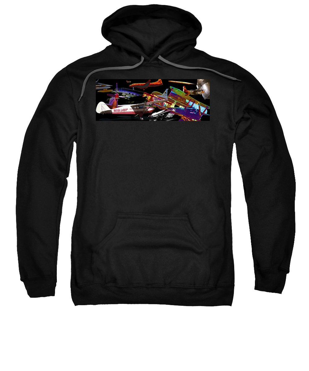 Sweatshirt featuring the digital art Airplanes Collage by Cathy Anderson