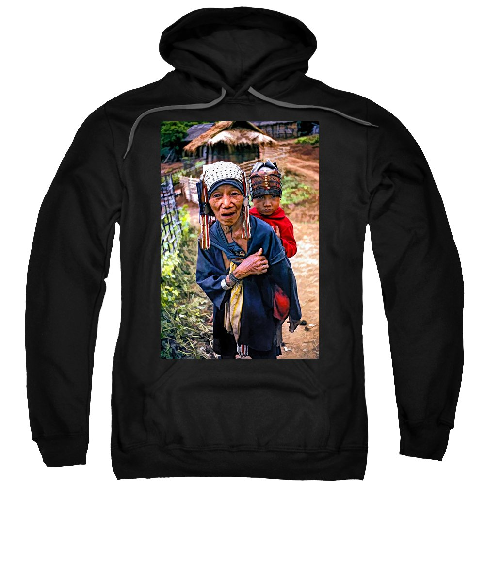 Akha Sweatshirt featuring the photograph Akha Tribe II Paint Filter by Steve Harrington