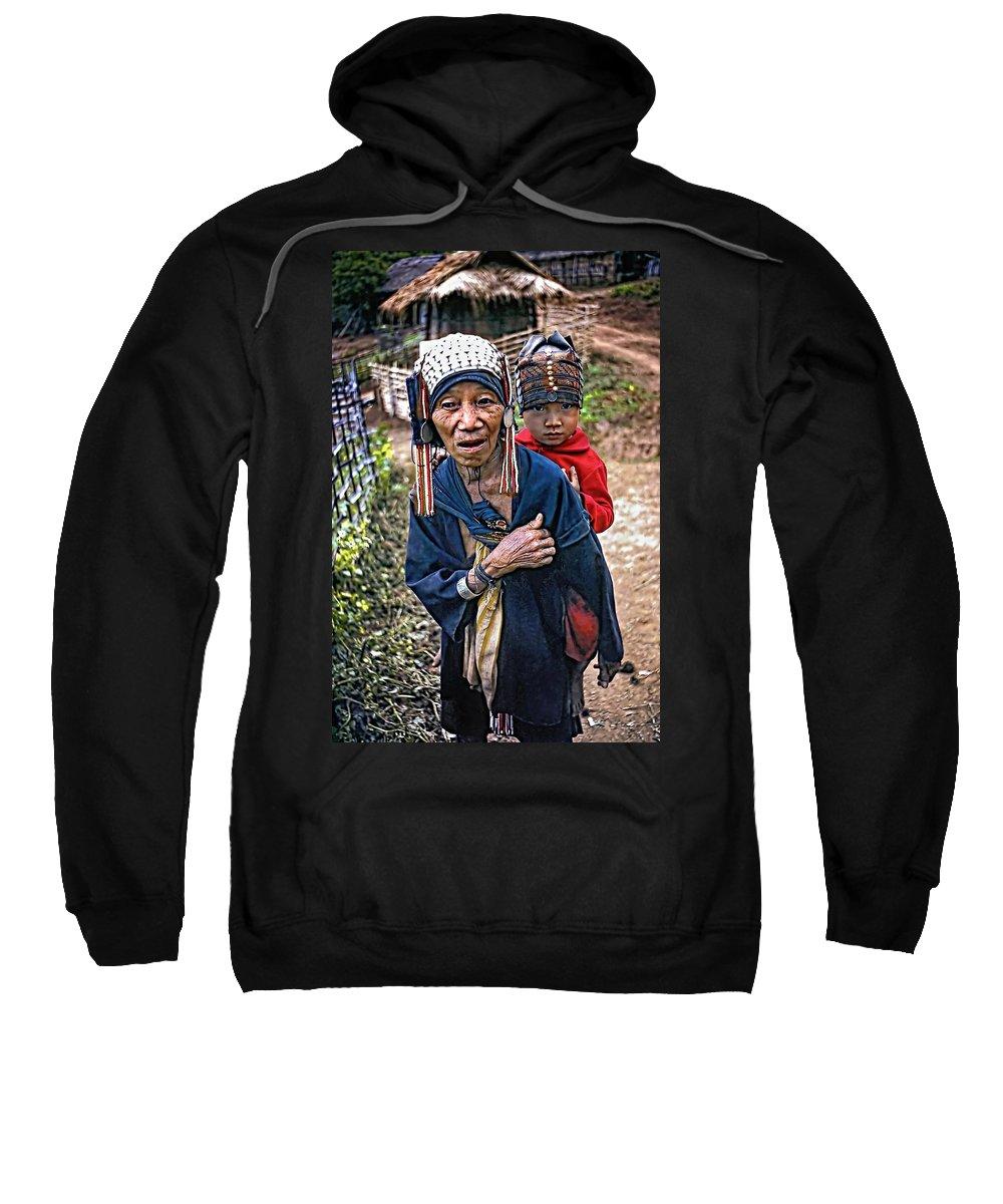 Akha Sweatshirt featuring the photograph Akha Tribe II by Steve Harrington