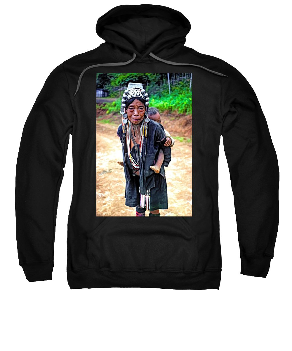 Hill Tribe Sweatshirt featuring the photograph Akha Tribe Paint Filter by Steve Harrington