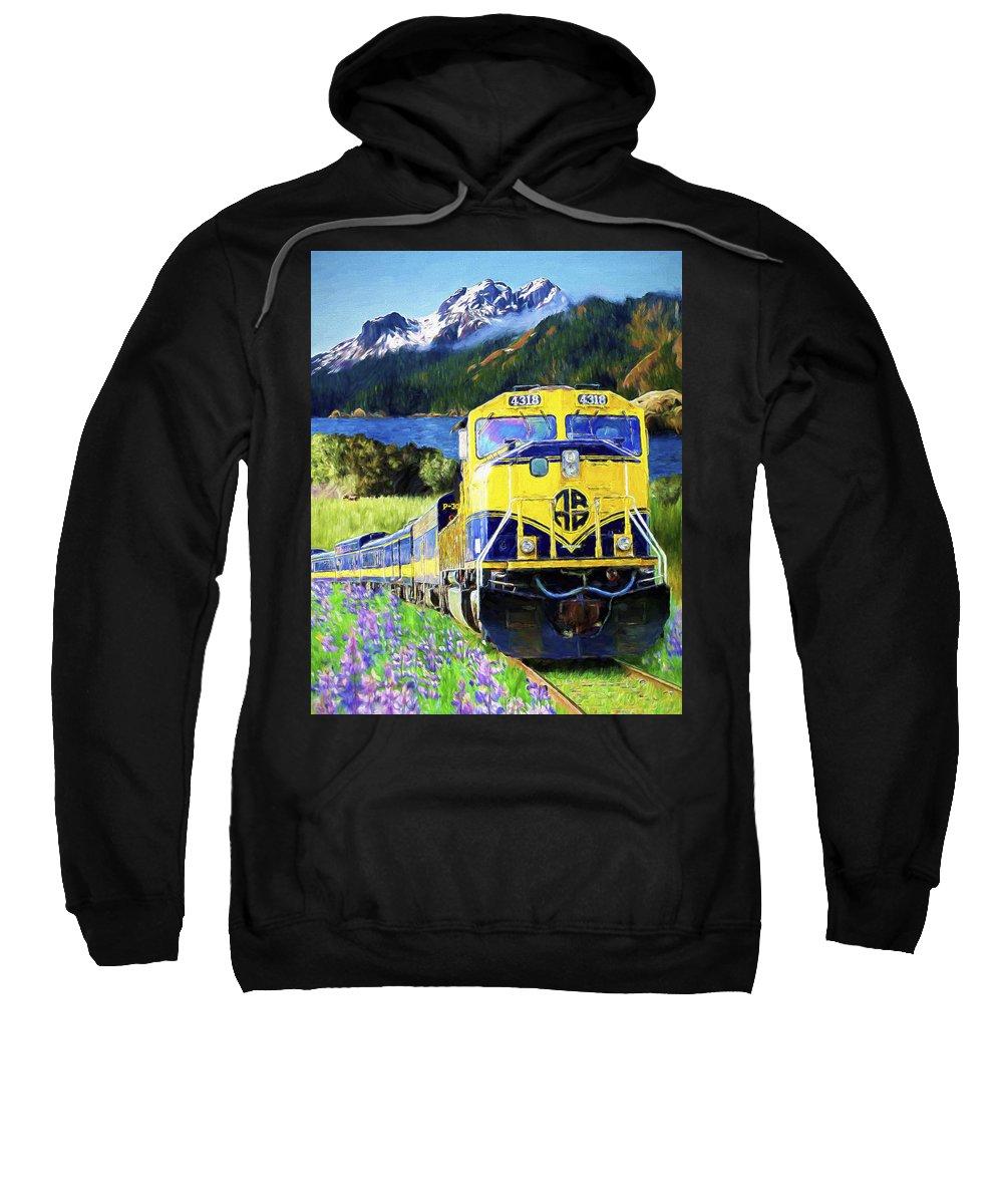 Railroad Sweatshirt featuring the painting Alaska Railroad by David Wagner