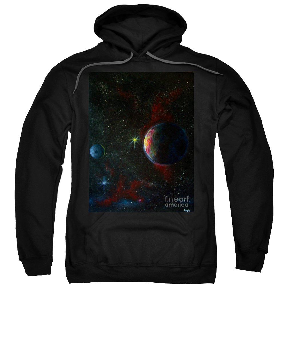 Cosmos Sweatshirt featuring the painting Alien Worlds by Murphy Elliott