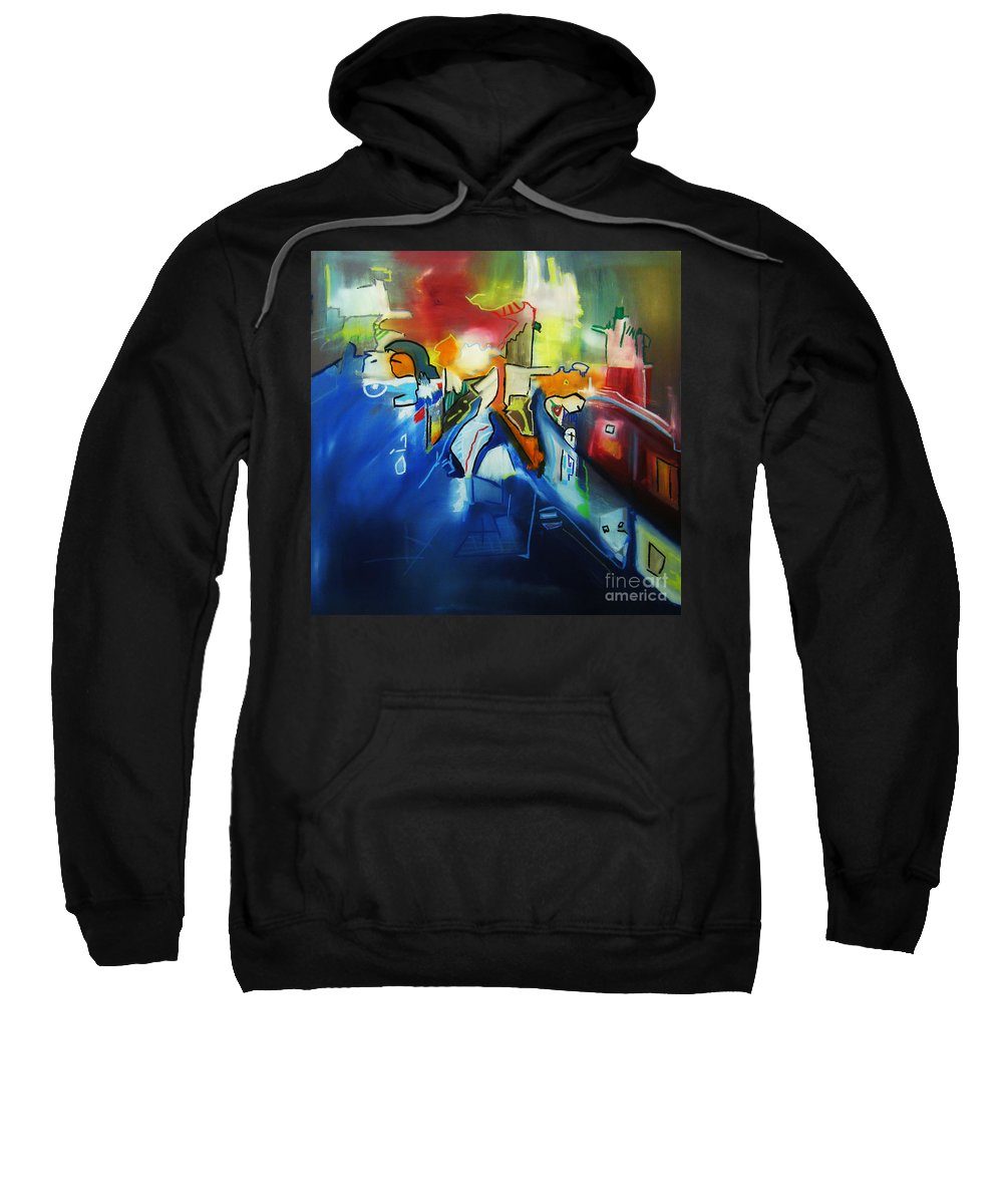 Colorful Sweatshirt featuring the painting All At Once by Jeff Barrett