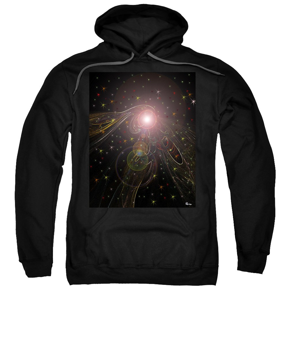 Stars Planet Outter Space Moon Star Nebula Creation Explosion Gasses Black Gold Green Yellow Lime Color Colourful Shining Imaginary World Sweatshirt featuring the digital art Alluring Light by Andrea Lawrence
