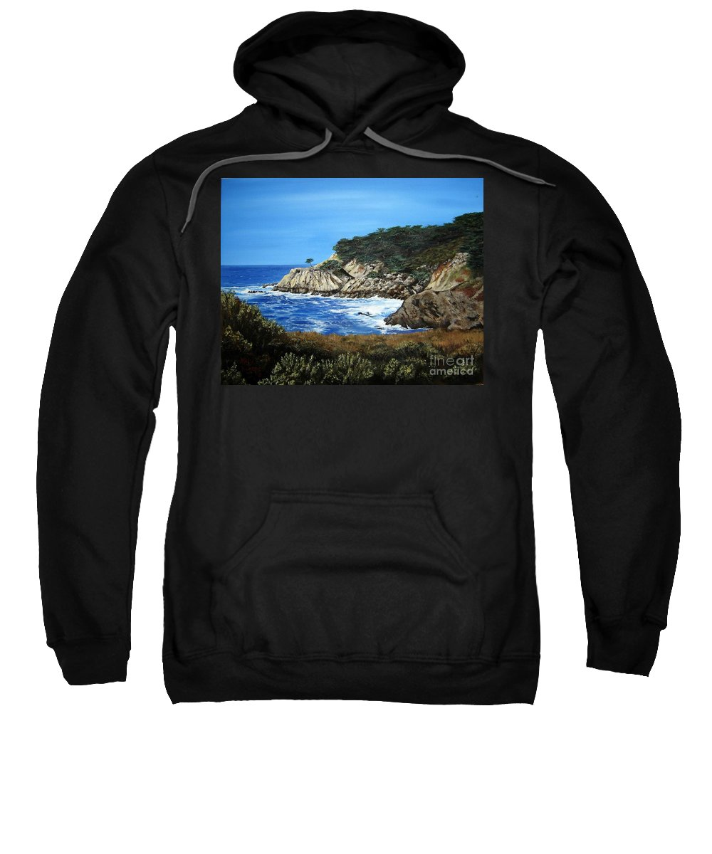 Landscape Sweatshirt featuring the painting Along The California Coast by Mary Rogers