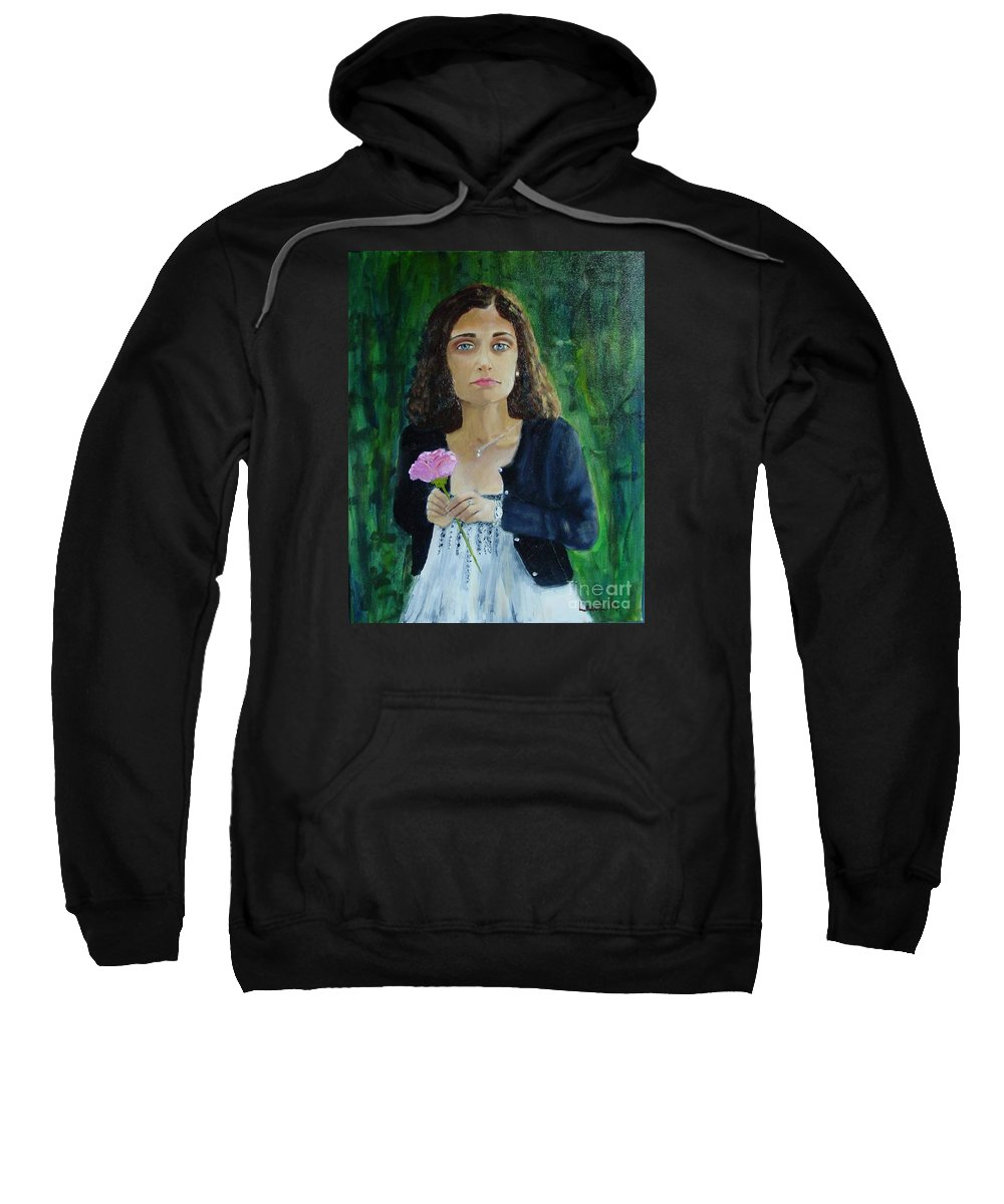 Portrait Sweatshirt featuring the painting Aly by Laurie Morgan