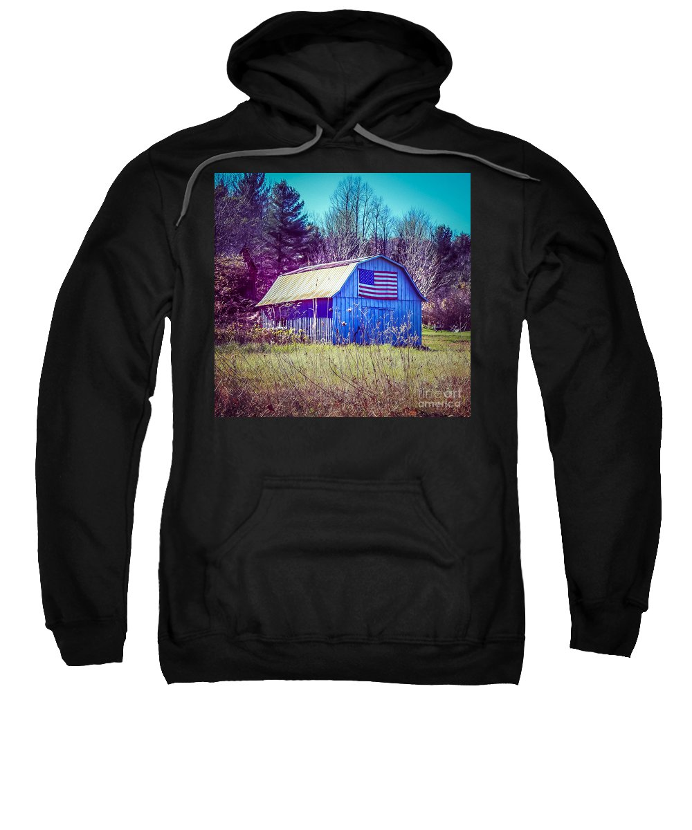 New England Sweatshirt featuring the photograph American Barn by DAC Photography