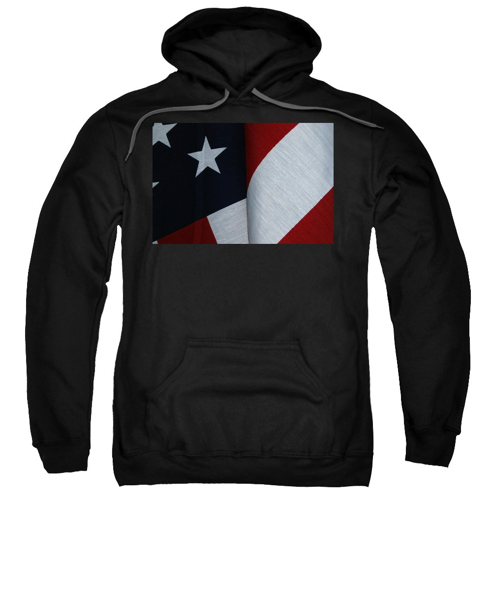 In_their_memory Sweatshirt featuring the photograph American Flag by Tam Ryan