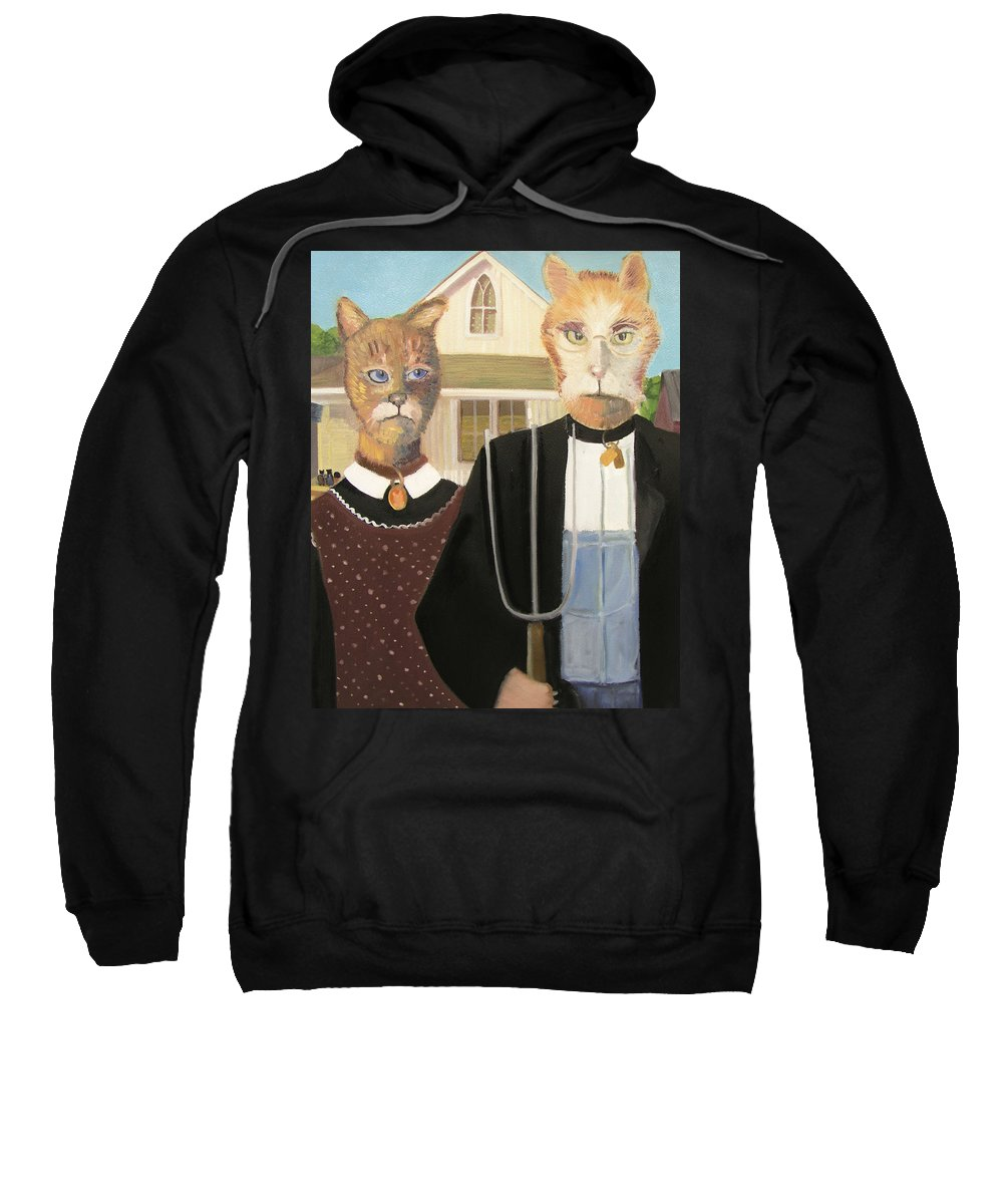 American Gothic Sweatshirt featuring the painting American Gothic Cat by Gail Eisenfeld