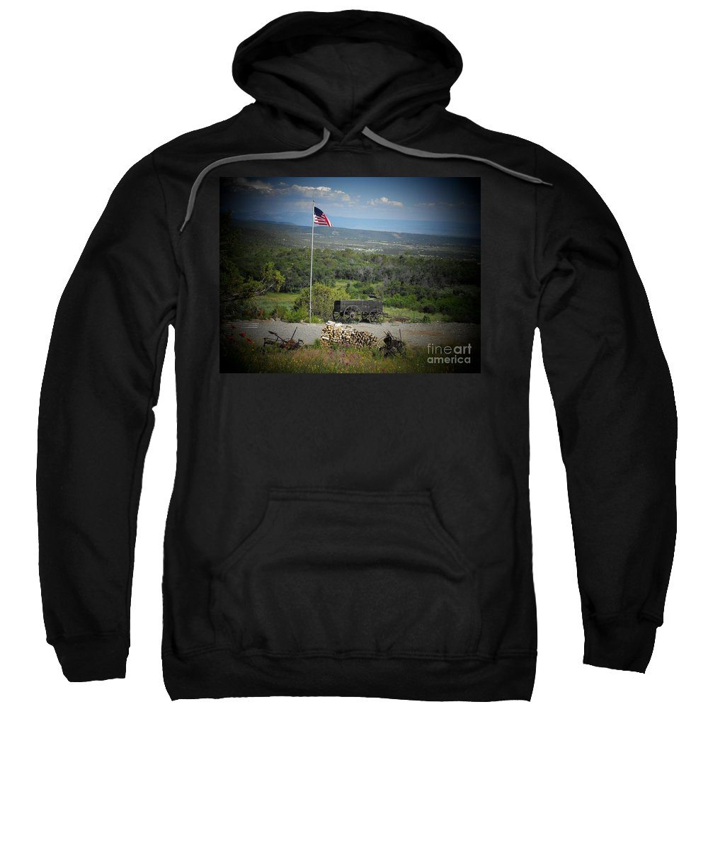 Usa Sweatshirt featuring the photograph American Wagon by Brandi Maher