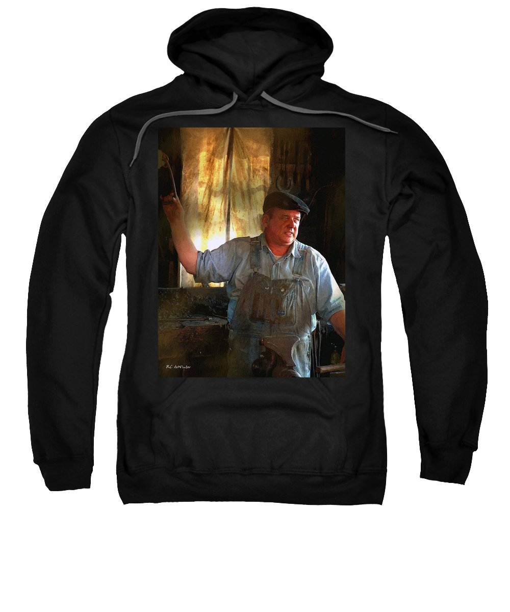 Portrait Sweatshirt featuring the painting American Workingman by RC DeWinter