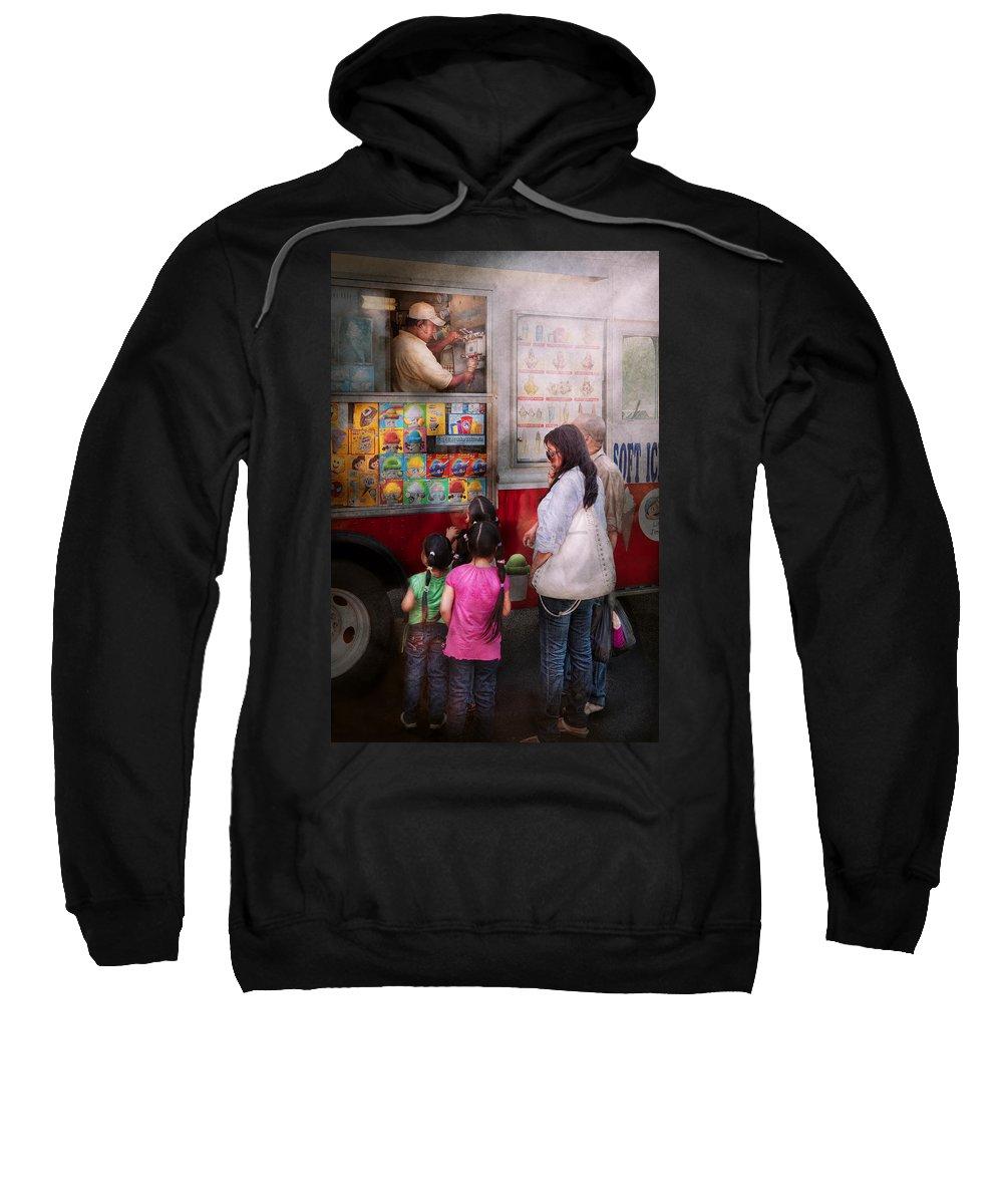 Ice Cream Sweatshirt featuring the photograph Americana - Vendor - Serving Chocolate Ice Cream by Mike Savad
