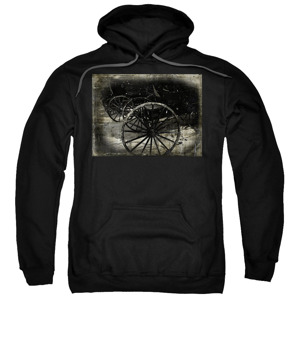 Amish Sweatshirt featuring the photograph Amish Cart Wheels Grunge by Cassie Peters
