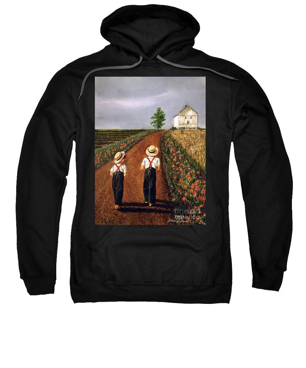 Lifestyle Sweatshirt featuring the painting Amish Road by Linda Simon