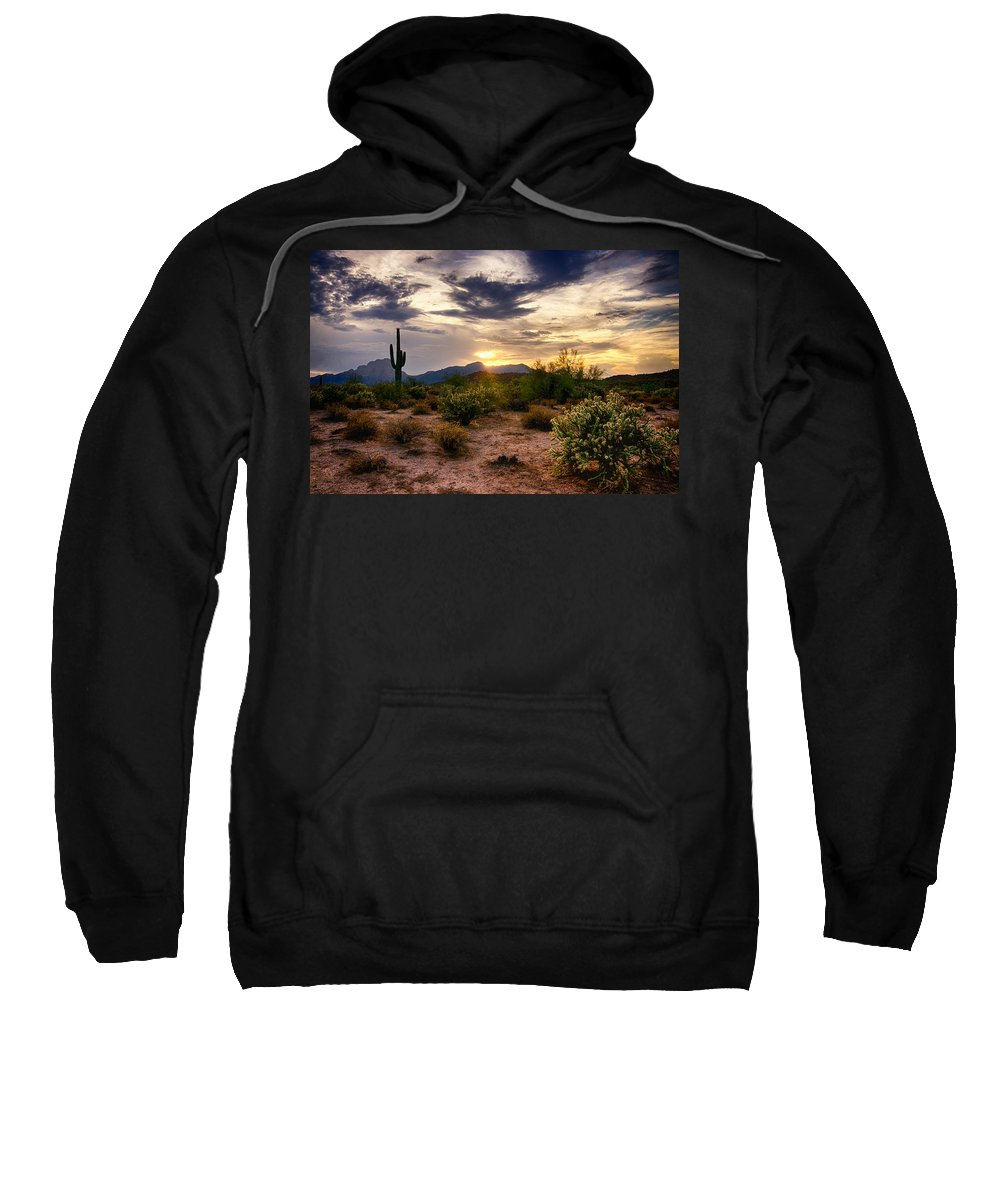 Sunset Sweatshirt featuring the photograph An Evening In The Desert by Saija Lehtonen