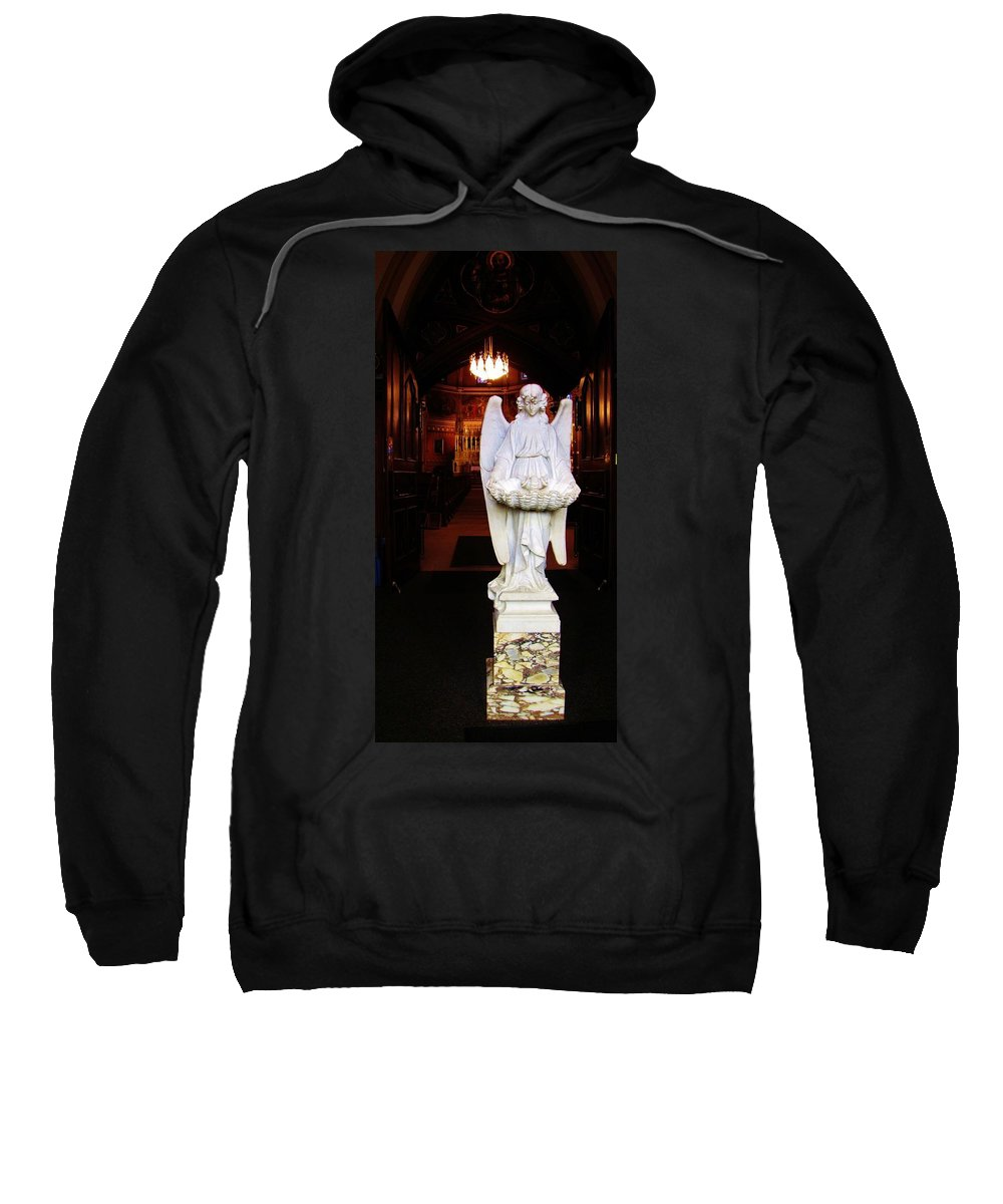 Angel Sweatshirt featuring the photograph Angel Statue Offers Holy Water by Michael Saunders